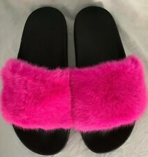 New Givenchy Hot Pink Fuchsia Mink Fur Slippers Sandals Spa Flats Star Soles 40