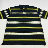 Kani Gold Polo Shirt Men's Size 3X Short Sleeve Black Green White Striped Golf