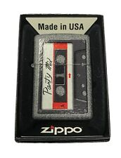 Zippo Custom Lighter Awesome Party Mix Vintage Cassette Tape Iron Stone Matte