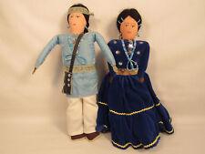 "Vintage Pair Of 12"" Native American Dolls Signed ROSALIE BAKER"