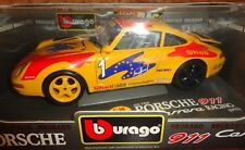 DIECAST MODELL BURAGO MODEL CAR RACE 1:18-PORSCHE 911 CARRERA GT EUROPE SUPERCUP