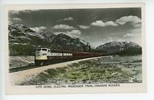 Canadian Pacific Railroad Diesel Passenger Train RPPC Rockies RR Photo ca. 1950s