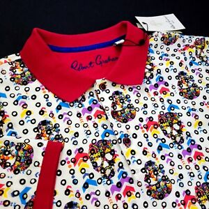 Robert Graham SKULL HEADS Geometric Colorful Print Short Sleeve Polo Shirt L XL