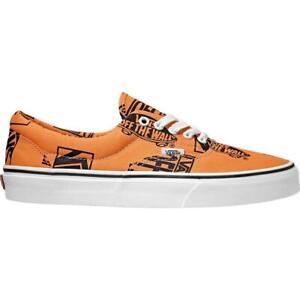 VANS Era Iconic LOGO MIX Script Tangerine & Black Low Canvas Unisex Shoes NWT
