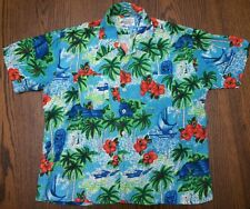 Vtg Kmart hawaiian shirt Sz XL Rayon Silky Blue Tiki Floral 70s