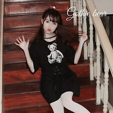 Japanese Sweet Lolita Gothic Harajuku Cute Black T-shirt Short Sleeve Dress