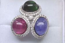 Custom, 14K White Gold, Cabochon Green/Red Tourmaline Tanzanite Ring w/Diamonds