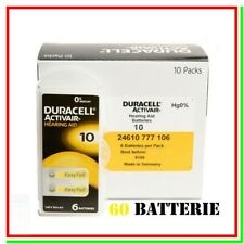 batterie per apparecchi acustici 10 duracell hearing aid 60 pile per protesi