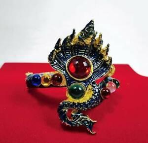 Naga Bangle 7 Heads Dragon Gems Bracelet Talisman Jewelry Thai Buddha Amulet