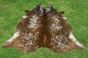 Cowhide Rug Brown Real Hair on Cow Hide Animal Skin Leather Area Rugs 5.5 x 5 ft