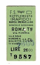 BIGLIETTO TICKET EDMONSON SUPPL. RAPIDO  NAPOLI ROMA  SPORTELLO SUSS.  7-5-1981