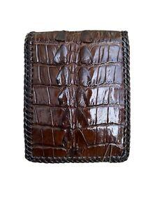 Double sides Crocodile alligator Leather skin bifold wallet men edge stiching