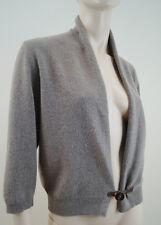 FABIANA FILIPPI Brown Merinos Wool Silk & Cashmere Leather Tab Shrug Cardigan