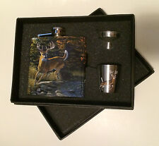 River's Edge Deer Flask / Shot Glass Gift Pack - New