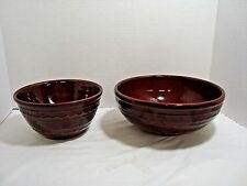 Mar-crest Stoneware Oven Proof Brown Daisy & Dot Mixing Serving Bowls Set of 2