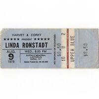 LINDA RONSTADT LIVINGSTON TAYLOR Concert Ticket Stub BUFFALO NY 8/9/78 Rare