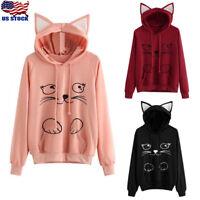 Womens Long Sleeve Cute Cat Print Ear Pullover Hoodie Pullover Jumper Tops Shirt