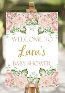 A4 Blush Pink Floral Baby Shower Poster Sign Birthday Tea Party Gender Reveal