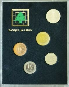 Lebanon Set Proof Coins Released In 2010 Set 5 Coins 25,50,100,250,500 Livres