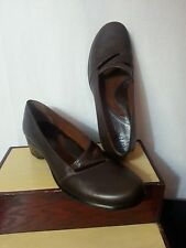 Clark Artisan Women Brown Leather Shoes Mary Jane Strap Heel Wedges Brazil 7 N