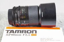 Tamron 90mm F2.5 Macro Adaptall Lens w/Canon FD, Mint, w/Hood Tested/Guaranteed!