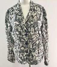CHICO'S Size 1 Small JACKET Blazer SILK Blend ABSTRACT Pattern Black Gray