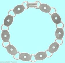 Lot 10 BRACELET BLANKS Silver Plated 10 OVAL PADS 14mm x 9mm disc