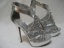 ANNE MICHELE SILVER GLITTER SPIKED OPEN TOE PLATFORMS SHOES SIZE 6 - NEW W BOX
