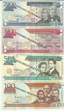 DOMINICAN REPUBLIC SET 4 PCS  100 500 1000 2000 PESOS 2010 SPECIMEN UNC