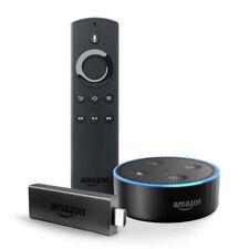 Amazon Fire TV Stick (2.Generation) mit Alexa-Sprachfernbedienung + Echo Dot (Schwarz) Digital Media Streamer - Schwarz