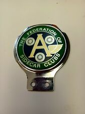 VINTAGE THE FEDERATION OF SIDECAR CLUBS MOTORCYCLE / CAR GRILLE BADGE RENAMEL