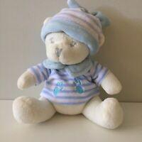 Snookims Baby Cuddles Newborn Rattle Plush Teddy Bear Blue White Beanie