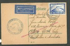 1929 German C36 2 Reichsmark Stamp Graf Zeppelin On Flight Card Interrupted