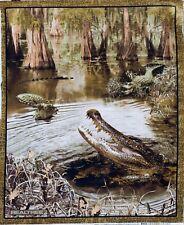Alligator Crocodile Fabric Panel in swamp river 100% Cotton