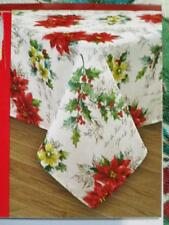 52x70 Rectangle~Fabric Tablecloth~Christmas~Holly~Mistletoe~Poinsettia~New w/Tag