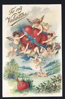 "Vintage 1909 Valentine Postcard ""To My Valentine"" Embossed Cherubs Cupid Heart"