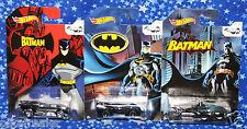 New Batman Hot Wheels Batmobile Lot of 3 Die Cast Cars 75th Anniversary MISP