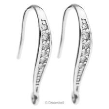 2x 925 Sterling Silver Cz Crystal Earwire French Hook Dangle Earring Connector