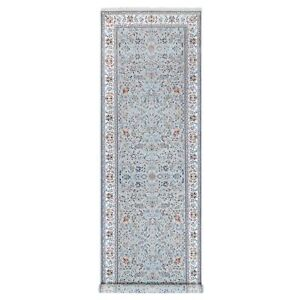 """5'x16'5"""" Gray Nain 300 KPSI Wool And Silk Hand Knotted Gallery Size Rug R62347"""