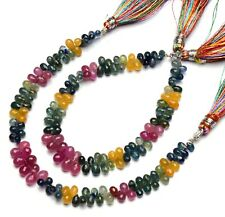 """Natural Gem Multi Sapphire 5x3 to 6x4MM Size Faceted Teardrop Briolette Beads 7"""""""
