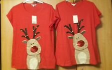 L@@K NWT SIZE L 42 BUST XMAS NOVELTY SEQUIN NOSE JINGLE BELL REINDEER TOP BUNDLE
