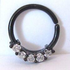 Black Titanium Clear Gems Cz Cartilage Hoop Ring Seamless 16 gauge 16g