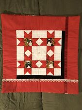 Christmas Kitty Hand-Quilted Pillow Cover
