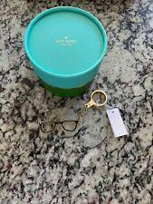 Kate Spade Goreski Glasses Black Yellow Gold Keychain Keyfob Nwt