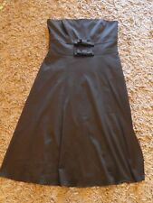 Wallis Black Satin Strapless Fitted Evening Dress Bow Detail Size 16 44