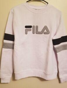 Fila - Women Logo Crewneck Sweatshirt - White Gray and Black - Size Small - NWT