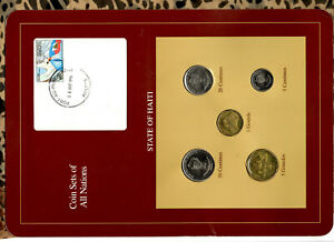 Coin Sets of All Nations Haiti UNC 1,5 Gourde 50,20 Centimes 1995 5 Centime 1997