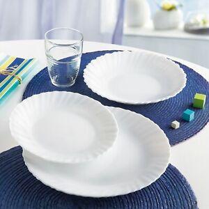 Luminarc Feston White 18pc Opal Glass Dinner Set Dinnerware Tableware Plates NEW