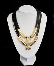 Luxus Lederkette Doppel Halskette Dolvika Paris Kette Anhänger Vergoldet Schwarz
