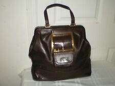 MOSCHINO Brown Leather 1 Handle Gold Buckle Clutch Closure Bag Handbag Satchel
